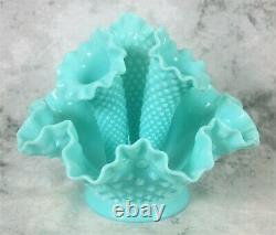 Vintage Fenton Light Aqua Blue Milk Glass Hobnail 3 Arm Epergne Lily Horn Vase