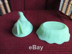 Vintage Fenton Lime Green Satin Glass Hen Chicken on Nest Covered Dish signed