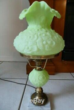 Vintage Fenton Lime Green Sherbet Satin Poppy 20 Student Lamp