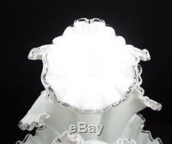 Vintage Fenton Milk Glass Silver Crest Large Epergne 4 Horn Centerpiece