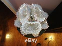 Vintage Fenton Opalescent Diamond Lace 4 Pic. Epergne LAVENDER/ PINK EDGE