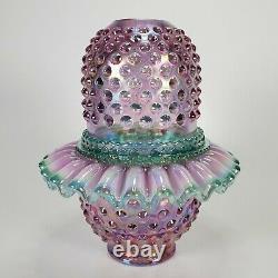 Vintage Fenton Pink Carnival Glass Hobnail Lamp 3 Piece Ruffle Fairy Lamp Mint