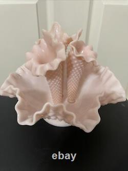 Vintage Fenton Pink Pastel Milk Glass Hobnail Epergne Apartment sized 3 Horns
