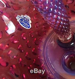 Vintage Fenton Plum Opalescent 3-Horn EpergnePaper LabelMint