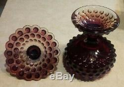 Vintage Fenton Plum Opalescent Hobnail Covered Candy Dish Compote Lidded Comport