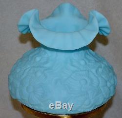 Vintage Fenton Poppy Lamp Blue Rare Glass Pedestal Great Condition