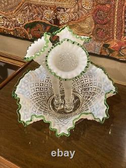 Vintage Fenton Ruffled Hobnail 3 Horn Epergne Milk Glass With Green Trim 3 Vases