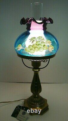 Vintage Fenton Ruffled Student Lamp Opalescent Grapes Family Signature Series