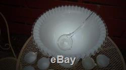Vintage Fenton Silver Crest Punch Bowl Complete Bowl Stand 12 Cups Glass Ladle