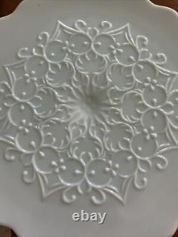 Vintage Fenton Spanish Lace Turquoise Milk Glass Cake Plate Stand 12 3/4 Inches