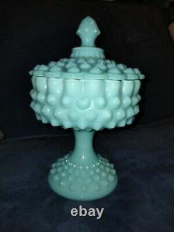 Vintage- Fenton Turquoise Aqua Hobnail Milk Glass Pedestal Compote/candy Dish