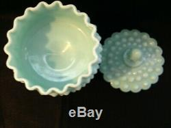 Vintage Fenton Turquoise Blue Hobnail Milk Glass Lidded Compote Candy Dish MINT