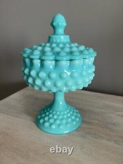 Vintage Fenton Turquoise Blue Milk Glass Hobnail Candy Dish With LID Rare