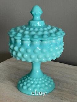 Vintage Fenton Turquoise Blue Milk Glass Hobnail Pedestal Candy Dish LID