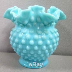 Vintage Fenton Turquoise Milk Glass Hobnail Ball Vase Ruffled 4 1/2 Rare Htf