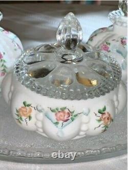 Vintage Fenton Vanity Set Signed & Hand Painted Melon Shape 7PC Mint Condition