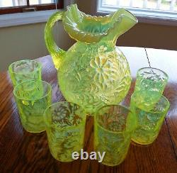 Vintage Fenton Vaseline Glass Topaz Opalescent Daisy & Fern Pattern Pitcher &