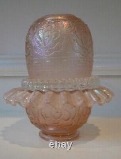 Vintage Fenton Velva Rose Persian Medallion 3 Piece Fairy Lamp 75th Anniversary