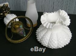 Vintage Fenton White Milk Glass Hobnail 3807 21 inch Student Lamp Lovely 1960s