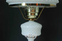 Vintage Fenton White Milk Glass Hobnail Lamp