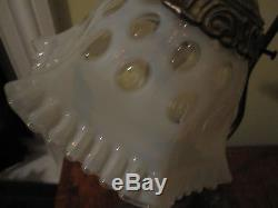 Vintage Fenton White Opalescent Coin Dot Table Lamp
