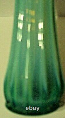Vintage Fostoria Heirloom Opalescent Green Stretch Glass 10 1/4 Vase Swung