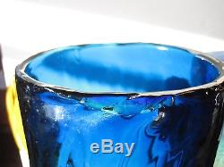 Vintage Funky Blenko Cactus Vase Xlg Size Yellowish To Blue W Amber