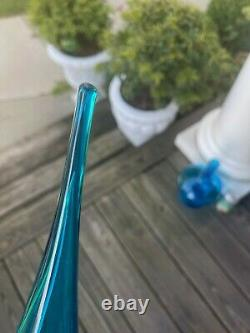 Vintage Husted Blenko 6212 Glass Decanter. Turquoise. 22 with 12 flame stopper