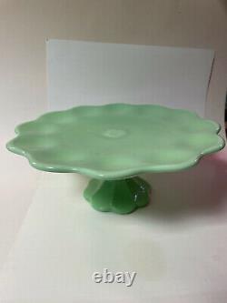 Vintage JADEITE Green CAKE Plate STAND Martha Stewart