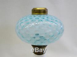 Vintage LG Wright Fenton Opalescent Blue Coin Spot Dot Oil Lamp