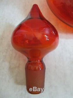 Vintage Large Blenko Glass Wayne Husted Red Orange 30 Inch Genie Decanter Bottle