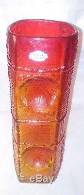 Vintage MCM Blenko 12.5 Amberina Tangerine Embossed Texture Pattern Glass Vase