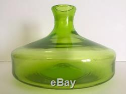 Vintage MID Century Modern Blenko Chartreuse Green Hand Blown Glass Bottle Vase
