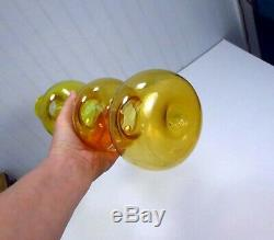 Vintage Mid Century Modern Blenko Gold Glass Gurgle Decanter # 5427 Wayne Husted