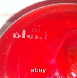Vintage Mid Century Signed Blenko Glass Bottle Decanter & Stopper Tangerine