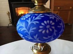 Vintage RARE Fenton Art Glass LG Wright COBALT BLUE SATIN DAISY & FERN LAMP