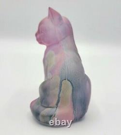 Vintage RARE Fenton Glass Cat Figurine Hand Painted by Rueven Nouveau Art Glass