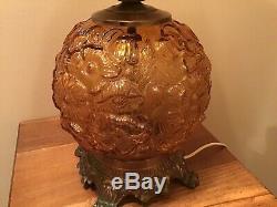 Vintage Rich Amber Fenton 24 Poppy GWTW 3 Way Lamp