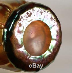 Vintage Steuben Gold Aurene Iridescent Art Glass Ribbed Shade Vase Shape 913