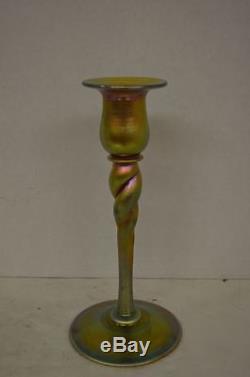 Vintage Steuben Gold Aurene Twist Candlesticks Pair 686