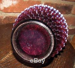 Vintage fenton plum opalescent hobnail wine decanter with stopper orig label