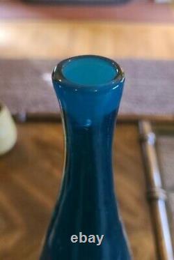 Vintage original 16 Blenko 920 decanter flame stopper ocean blue glass MCM