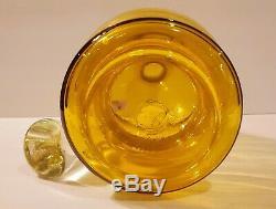 Vtg Bischoff MCM Lemon Yellow Art Glass Decanter Gurgle Bottle MCM Rare Eames