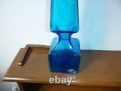 Vtg Blenko Glass Turquoise 6213 Decanter Bottle With Stopper Obelisk Wayne Husted