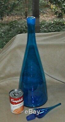 Vtg Blenko LARGE 23 Tall Blue Glass Decanter Bottle & StopperWinslow Anderson
