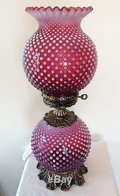 Vtg Fenton Art Glass Gone With The Wind Cranberry Opalescent Hobnail Lamp B7