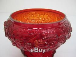 Vtg Fenton Glass Ruby Red Electric Hurricane Lamp Poppy Ruffle Shade Marble Base