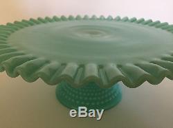 Vtg Fenton Hobnail Aqua Turquoise Blue Green Milk Glass Cake Stand 50s 13 RARE