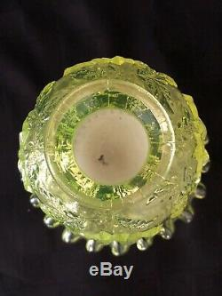 Vtg Fenton LG Wright Rare 4 Piece Uranium Canary Fairy Light Lamp Embossed Roses