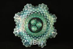 Vtg Fenton Opaline Green Hobnail Glass 3 Flower Flute / Horn Epergne Vase